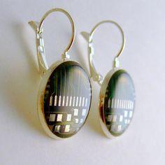 Circuit Board Earrings - Domed Green Leverbacks | etsy.com | #geek #jewelry