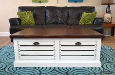 13 Free Plans to Help You Build a Coffee Table: Free Crate Store Coffee Table Plan from Her Tool Belt