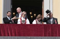 May 17th, 2014 ♕ King Harald, Queen Sonja, Crown Prince Haakon, and Crown Princess Mette Marit watch the national day parade