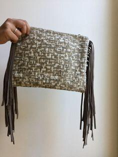 suede fringe bag , gray zipper bag, boho Clutch with Leather Geometric clutch
