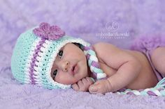 Flower Earflap hat  Aqua and Purple by BellaRooCreations on Etsy, $18.00