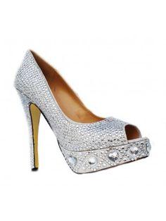Platform Silver Rhinestone Peep Toe Stiletto Heels Prom/Evening Shoes