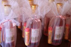 Cute baby or bridal shower favor idea - mini wine bottles and chapstick or lip gloss!