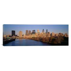 "East Urban Home Panoramic Pennsylvania, Philadelphia Photographic Print on Canvas Size: 24"" H x 72"" W x 1.5"" D"