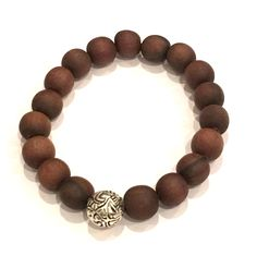 Versani Beaded Bracelet with Wood Beads and Sterling Silver Key Design Bead Wood Beads .925 Sterling Silver Unisex