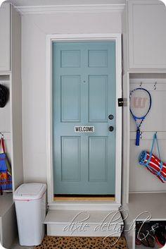 "Honey Does: The Garage {After}. Door color is Benjamin Moore's ""Grenada Villa"""