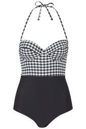 Contrast Gingham Swimsuit