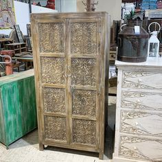 "Carved Wood Storage Cabinet Item 210471 Measures 33x15x70"" Priced at $651 - #artisan #cabinet #storage #artisanfurniture #miamifurniture #miamifurniture #cabinet #armiore #shabbychic #shabbychicdecor"