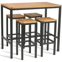 Kendo Bar Height Outdoor Dining Set is part of Table - Outdoor dining site comprising four stools and a bar height table Comes with a robust Robina wood top and seats Metal Dining Table, Outdoor Dining Set, Dining Room Table, Outdoor Tables, Dining Sets, Outdoor Lounge, Steel Furniture, Industrial Furniture, Porch Furniture