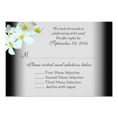Plumeria on Black Wedding Menu Reply Cards Invite