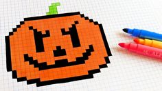 Halloween Pixel Art - How To Draw a Pumpkinhead #pixelart