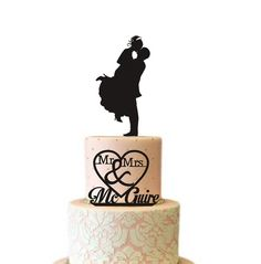 Two Tier Wedding Cake Topper Silhouette for by TrueloveAffair