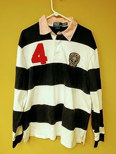 Classic Blue White Striped Ralph Lauren Crested Patch #4 Polo Rugby Shirt 2XL