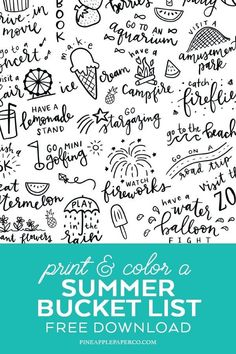 Summer Bucket List Free Printable Coloring Page that is PERFECT for kids and families to plan all of their summer bucket list ideas! Free download of the Printable Summer Bucket List available at Pineapple Paper Co. #summerbucketlist #summerideas #coloringpage #freeprintable #printablecoloringpage #summerideasforkids #kidscrafts #freedownload #coloringpage