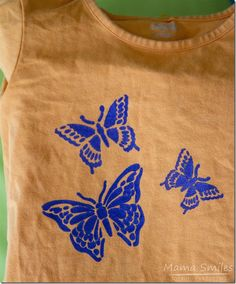 I love this stenciled shirt tutorial. Upcycle your child's wardrobe by turning plain t-shirts into cute DIY stenciled shirts! Fun Crafts For Kids, Craft Activities For Kids, Art For Kids, Craft Ideas, Stencil Diy, Stencils, Freezer Paper Stenciling, Shirt Tutorial, Cool Kids Clothes