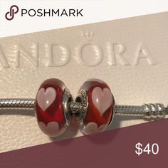 Two Authentic Pandora Heart Murano Beads Two authentic Pandora beads Pandora Jewelry Bracelets