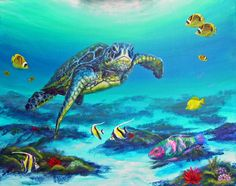 Painting of sea turtle with parrotfish in Hawaii