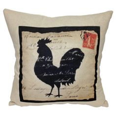 Cotton and linen-blend pillow with a carte postale rooster motif.  Product: PillowConstruction Material: Cotton and l...