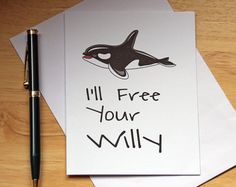 Willy Card, Funny Card, Adult Card, Naughty Card, Boyfriend Gift, Card For Boyfriend, Card For Husband, Sexy Card, Free Willy, Penis Card,