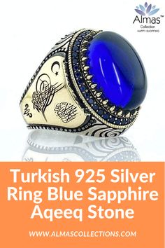 WAS $299.99 NOW ONLY $209.99 + FREE SHIPPING  Handcrafted in Turkey made in sizes 9.5 -14 using only high-grade 925 sterling silver and real Opal cut blue sapphire aqeeq agate Stone. It is made from scratch so it is created with attention to detail and comes in a gift box. It is the perfect gift for special occasions or special people that are close to you. #aqeeqstone #usa #uk #europe #australia #canada #belgium #eu #bahrin #oman #pakistan #dubai #turkey #sapphirerings