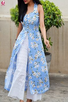 Buy Multicolored Printed Front Slit Sleeveless Crepe Kurti Online in India Simple Kurti Designs, Salwar Designs, Kurti Neck Designs, Stylish Dress Designs, Kurta Designs Women, Kurti Designs Party Wear, Designs For Dresses, Stylish Dresses, Patiala Suit Designs