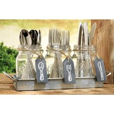 Set of 3 Clear Glass Mason Jars with Hanging Chalkboards on Galvanized Tray with Handles, Flatware Caddy Organizer Set for Home & Parties Cutlery Caddy, Galvanized Tray, Mason Jar Centerpieces, Mason Jar Candle Holders, Creation Deco, Utensil Holder, Silverware Holder, Grad Parties, Picnic Parties