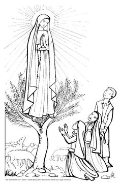 Catholic Art, Religious Art, La Salette, Lady Of Fatima, Woman Illustration, Blessed Virgin Mary, Guardian Angels, Christian Art, Colouring Pages