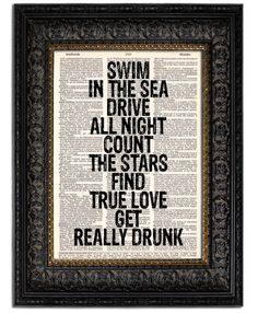 Quote Art Print Life Quote SWIM In THE SEA book by Vintagraphy  https://www.etsy.com/listing/100507259/quote-art-print-life-quote-swim-in-the#