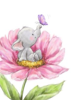 Elephant nursery art printable for your baby nursery. Elephant Love, Elephant Art, Elephant Nursery, Nursery Art, Disney Drawings, Cute Drawings, Baby Animal Drawings, Baby Art, Whimsical Art