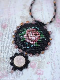 Embroidery Necklace Beadwork Rose Pendant Elegant Design Vintage style jewelry Seed Beads Neckpiece Mother's day gift