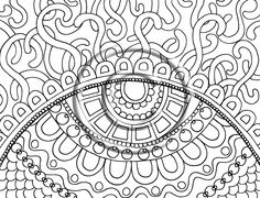 "Digital Download Coloring Page Hand Drawn Zentangle Inspired Psychedelic ""Whirls"" Abstract Zendoodle Doodle By Kat. $2.20, via Etsy."