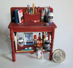 Miniatur-Künstler-Werkbank (1 cm Skala Puppenhaus)