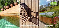 Urlaubsfeeling zu Hause. Naturpools, Terrassen und Hochbeete aus dem Holz der Hohen Tauern in Österreich Bonsai, Garden Bridge, Deck, Outdoor Structures, Outdoor Decor, Home Decor, Compost, Porches, Home And Garden