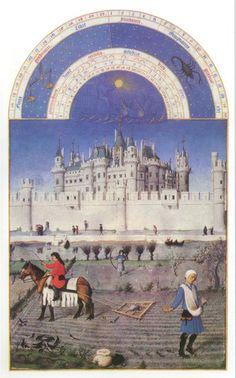"""Bracia Limbourg ,,Październik"""" z Tres Riches Heurs de duc de Barry, Musee Condé, Chantilly."""