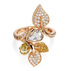 'Rough Diamonds' mixed cut diamond ring in rose gold