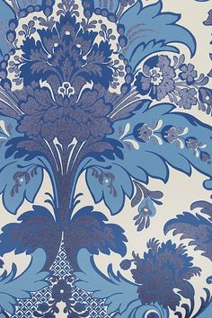 Aldwych Damask Wallpaper Brilliant Damask Wallpaper on white paper with intricate motif in sky blues embellished with dark blue glittered relief.