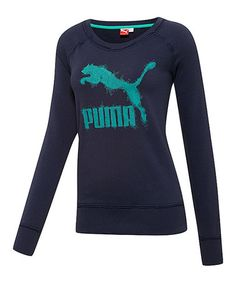 Peacoat Heather French Terry Sweatshirt by PUMA #zulily #zulilyfinds