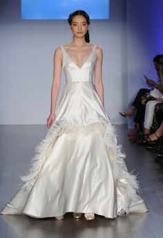Ostrich Feather Trimmed Satin Wedding Dress | Jim Hjelm Wedding Dresses Spring 2015 | Kurt Wilberding | blog.theknot.com
