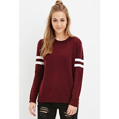 Forever 21 Varsity-Striped Sweater ($23) ❤ liked on Polyvore featuring tops, sweaters, red striped sweater, acrylic sweater, forever 21, forever 21 tops and red top