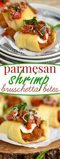 These Parmesan Shrimp Bruschetta Bites are a delightfully easy appetizer that everyone will enjoy! Made with fresh mozzarella, crescent rolls and finished with a bruschetta topping. Great for holiday parties, football, and more!