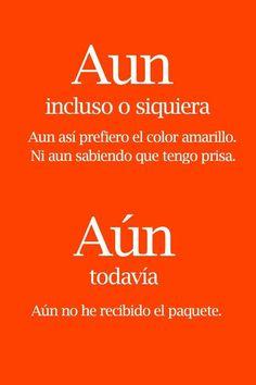 Aún/aun Spanish Grammar, Ap Spanish, Spanish Vocabulary, Spanish Words, Spanish Language Learning, Spanish Teacher, Spanish Lessons, Teaching Spanish, New Words
