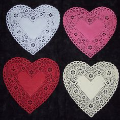 6 inch heart  doiliesivoryredpinkwhite or by UniquelyYoursCrafts, $4.49