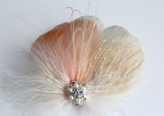 Wedding Bridal Ivory Peach Champagne Peacock Feather Pearl Jewel Veiling Head Piece Hair Clip Fascinator Accessory on Etsy, $36.00