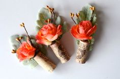 Rustic Boutonniere Coral Wedding by thebreadandbutterfly on Etsy Handmade Wedding, Diy Wedding, Wedding Ideas, Wedding Attire, Wedding Stuff, Dream Wedding, Wedding Inspiration, Boutonnieres, Plants