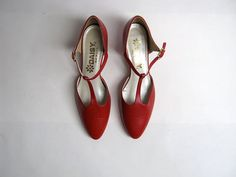 vintage red leather t strap mary jane by dirtybirdiesvintage, $34.00