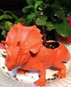 Custom Upcycled Dinosaur Planter