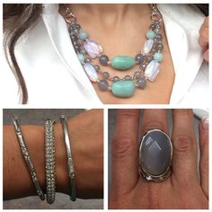Nice and chunky! #calcite #feldspar #opalite #grayagate #liasophia #necklace Mint Jewelry, Bling, Bridesmaid, Necklaces, Gray, Chain, Nice, Fashion, Maid Of Honour