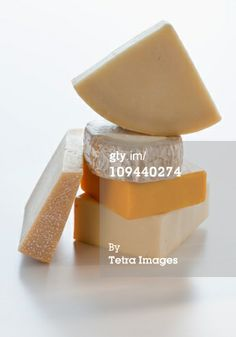 Stock Photo : Pieces of different cheese