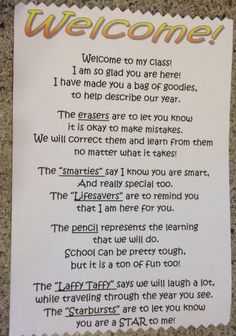 Welcome note with goody bag for students on first day of school.