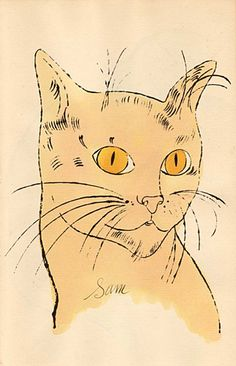 Yellow Sam with Orange Eyes  | lithograph with watercolour, 1954 | Andy Warhol